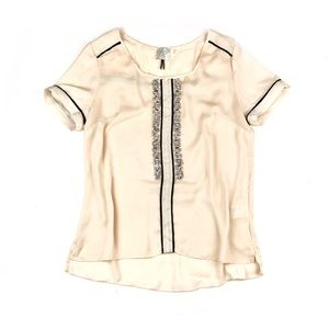Anthropologie | Cream Jeweled Blouse | Large